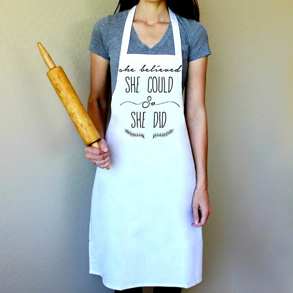 100% Cotton She Believed She Could So She Did Apron by Love You A Latte Shop